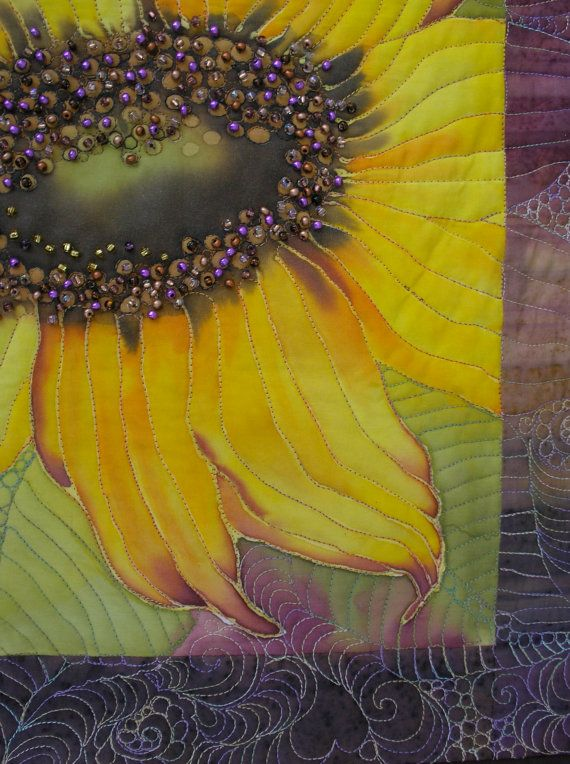 Sunflower Art Quilt  Hand Painted Quilted Wall by paintedquilts, $229.00