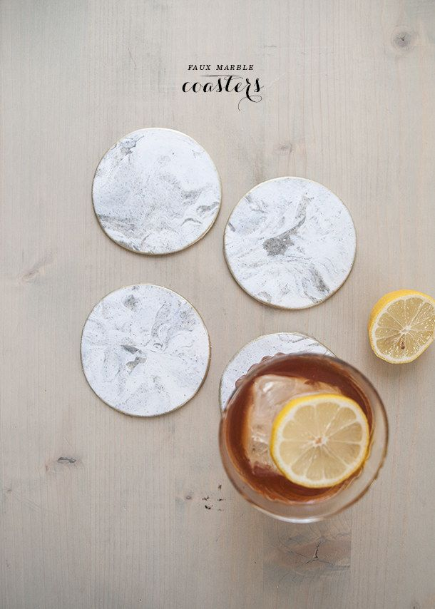 "Sculpt a set of ""marble"" coasters using oven bake clay. 