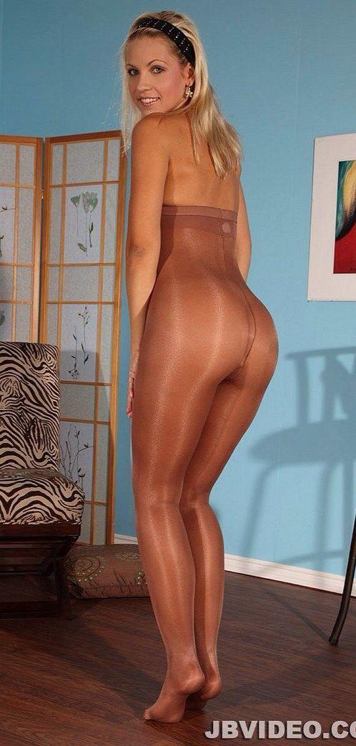 Above shiny pantyhose bodystocking