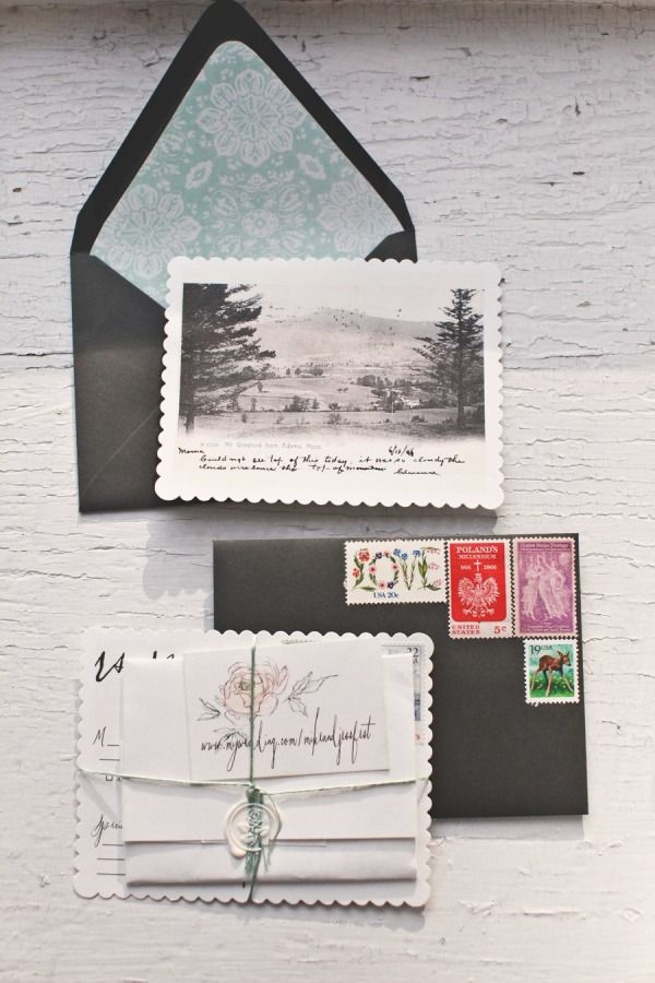 Invitation bundle - vintage postcard RSVP, handwritten invitation, string and wax closure