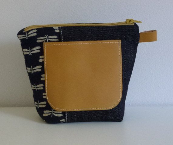 Handmade Cloth and Leather Makeup Bag by JacquiInc on Etsy