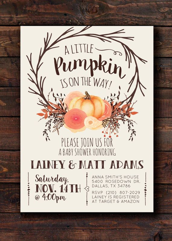 Fall Autumn Pumpkin Baby Shower Invitation Invite, Little Pumpkin Gender Neutral Baby Shower Invitation Invite for Boy or Girl, Printable