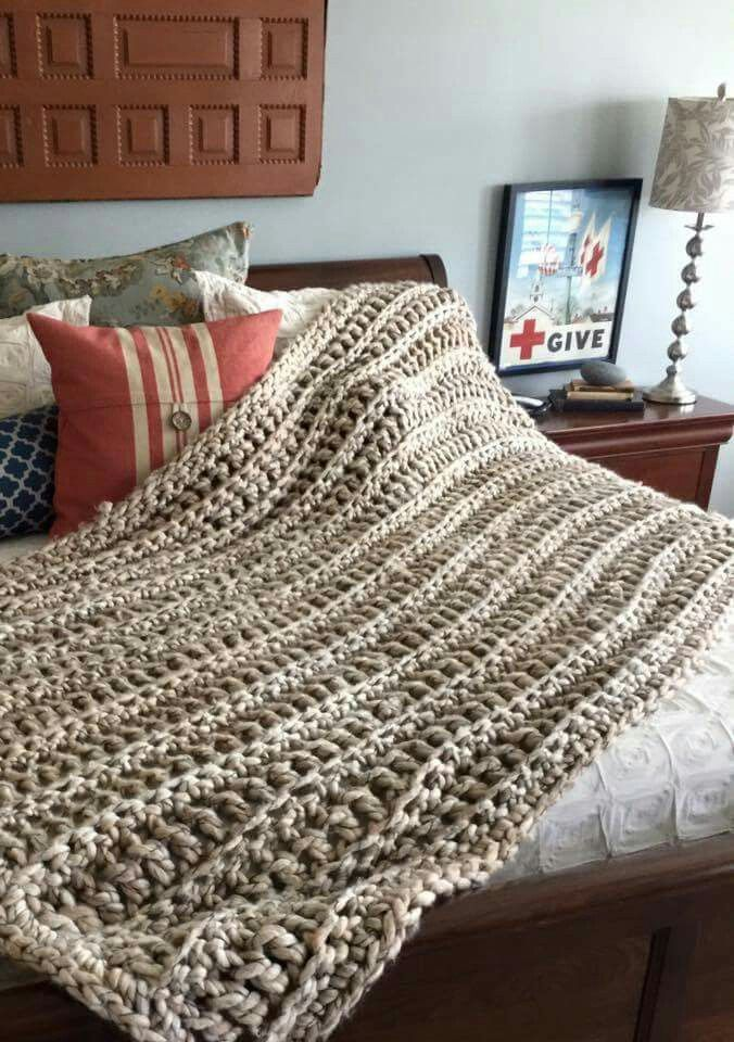 """""""Using 25mm crochet hook and super chunky yarn. Row of Single crochet back loop followed by row of double crochet back loop. All the way through."""""""