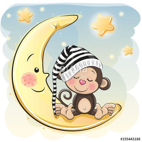 Vettoriale: Cute Cartoon Monkey is sleeping