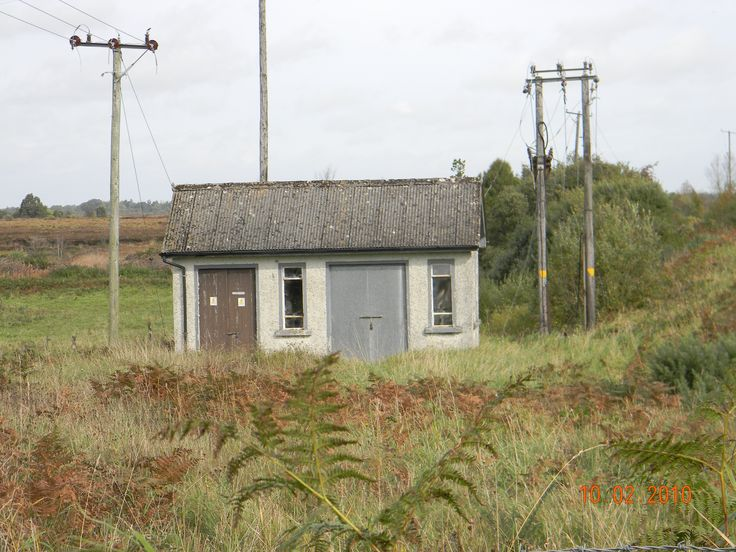Small shack by the Bord na Mona peat bog train tracks near Delvin, Co. Westmeath