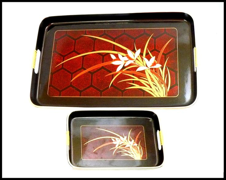 Set of 2 Black Lacquer Japanese Trays, Vintage Black & Red Trays, Asian Serving Tray, Holiday Tray, Artist Toyo, Hostess Gift For Her by MarlosMarvelousFinds on Etsy