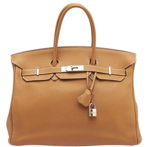 Pre-owned Hermes Birkin 35cm Tan Epsom Leather Satchel ($9,775) ❤ liked on Polyvore featuring bags, handbags, purses, tan, leather satchel handbags, man bag, tan leather purse, tan leather handbags and satchel handbags