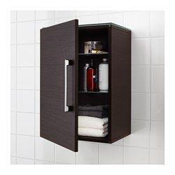 "GODMORGON Wall cabinet with 1 door, black-brown - 15 3/4x11 3/4x22 7/8 "" - IKEA"
