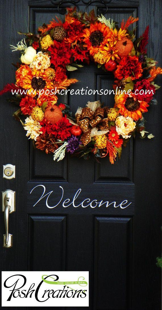 Fall Wreath Elegant Fall Wreath Halloween by poshcreationsKY, $219.00
