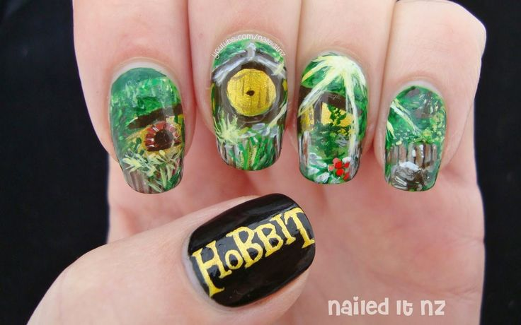 Nailed It NZ: The Hobbit Nail Art | The Shire http://www.naileditnz.com/2014/12/the-hobbit-nail-art-shire.html