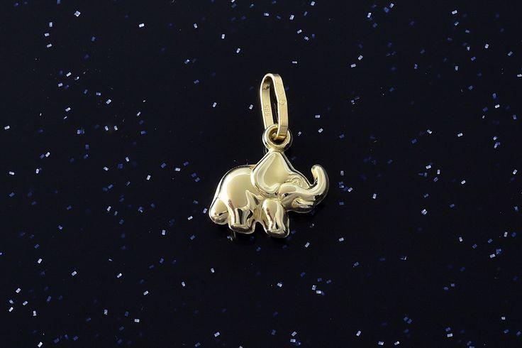 Slon zlatý přívěsek P085,14kt,váha 0,35g