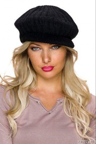 Πλεκτό καπέλο με μικρό γείσο - Μαύρο