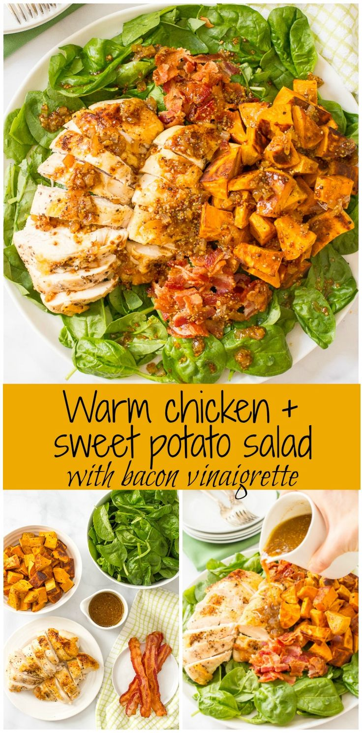 Warm chicken and sweet potato salad with bacon vinaigrette, served over fresh spinach, is a hearty main dish salad with big bacon flavor!   www.familyfoodonthetable.com