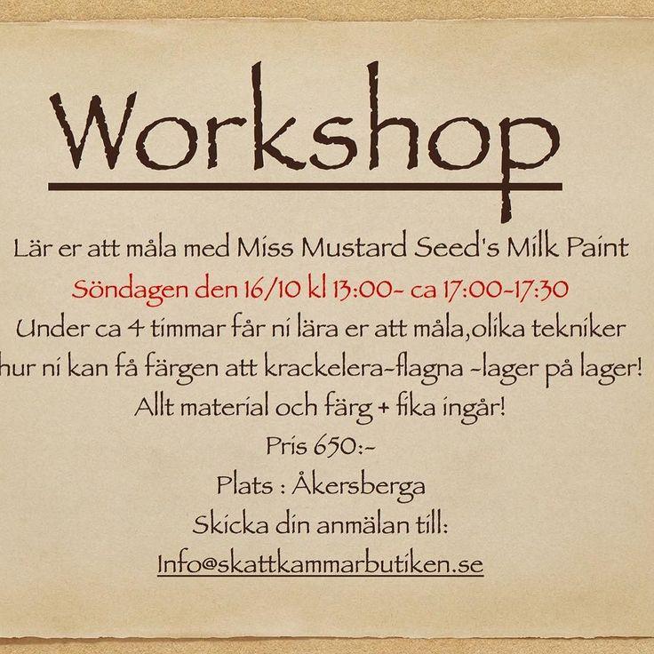 Workshop- MMS Milk Paint.  Söndagen 16/10 maila ert intresse till info@skattkammarbutiken.se #måla#skattkammarbutiken#missmustardseedsmilkpaint#återbruka#genbrug#vintage#interiör#lovemmsmp#kalkfärg#shabbychic#målaom#inredning#mjölkfärg#interiör#inredning#vintagehome#lantligt#countryhome#doityourself#diy#roomforinspo#brocantechic#inspiration#rusty#instainspiration#antiquechic#frenchcountry#workshop