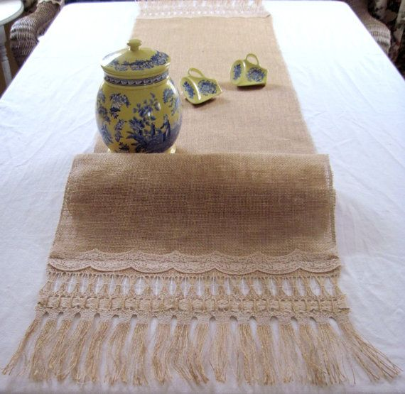 15 X 72 Handmade Burlap Table Runner Fringes and Lace Designs Old Fashion Embroidery Technique, Doily Wedding Table Runner Special Occasions