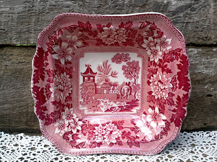 Vintage Dish, Square Handled John Steventon & Sons Asian Serving Bowl, Red Transferware, Burslem England, A Heavier Piece, Ironstone by CottonCreekCottage on Etsy
