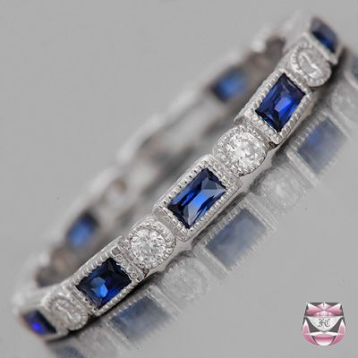 Art Deco Sapphire Diamond Eternity Band - Special Order