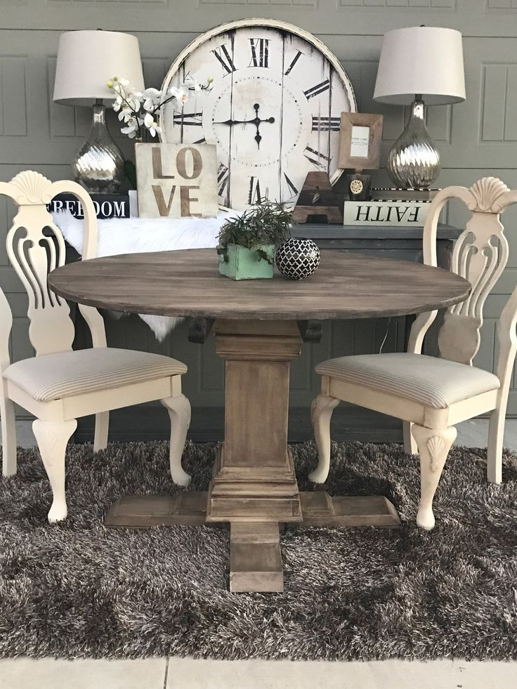 shanty- 2 Chic - Annie Sloan Chalk Paint - Round Pedestal Farmhouse Table by Handmade Haven - SMASHINGDIY