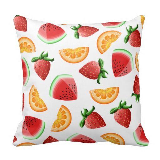 Strawberry Orange Watermelon Fruit Salad Cushion