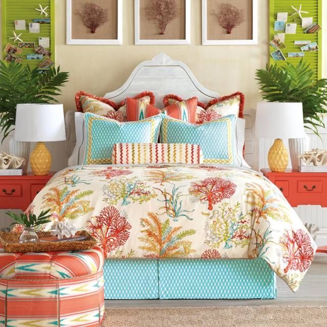 Add a coastal feel to your home with our Maldive Bedding Collection. Inspired by vacations to sun-drenched tropical shores, this collection features the cool colors of turquoise lagoons, pink and orange coral reefs and white sand beaches. The bright and punchy maldive motif is perfect for incorporating vibrant color in your room. From Eastern Accents Duvet Cover is 100% cotton with decorative fabric on both sides Bedskirt is 63% rayon, 37% polyester ...