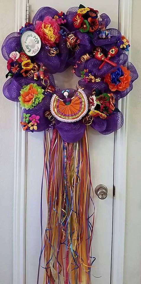 Viva Fiesta, Fiesta Wreath, Cinco de Mayo Wreath (Special Order Item) by SouthTXCreations on Etsy