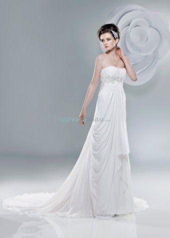 2011 wedding dress with strapless neckline and chapel train. Glistening beading frams the bodice while chiffon skirt flows from empire waist. Free made-to-measurement service for any size. Available colors seen as in Color Options.