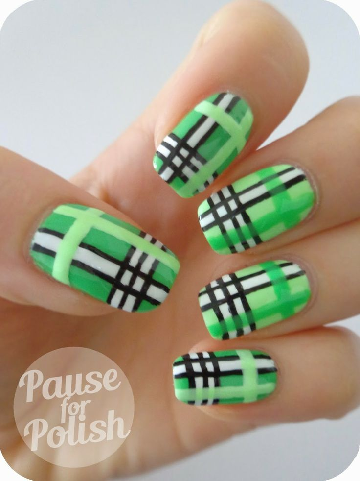 Pause For Polish: Claire's Accessories Neon | Plaid Nail Art