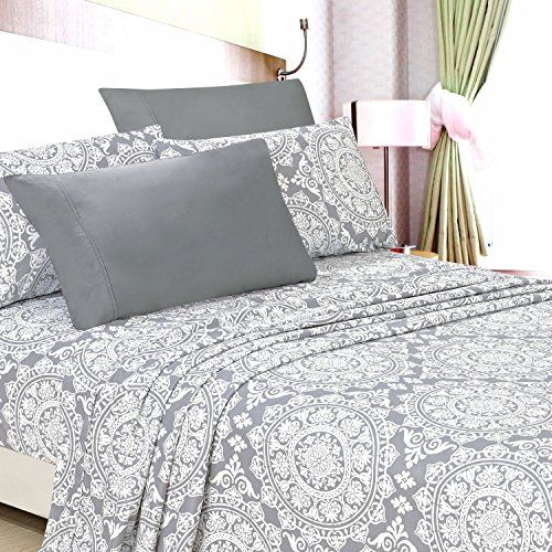American Home Collection Deluxe 6 Piece Printed Sheet Set Highest Quality Of Brushed Fabric, Deep Pocket Wrinkle Resistant - Hypoallergenic (King, Grey Geometric)