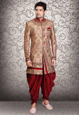 Beige and Maroon Art Silk Brocade Readymade Sherwani