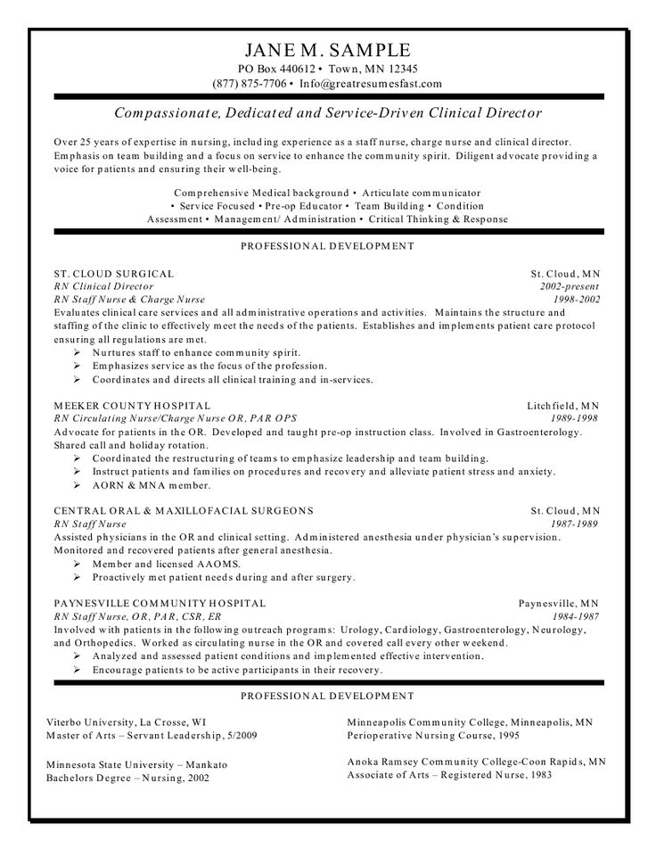 clinical experience on nursing resume