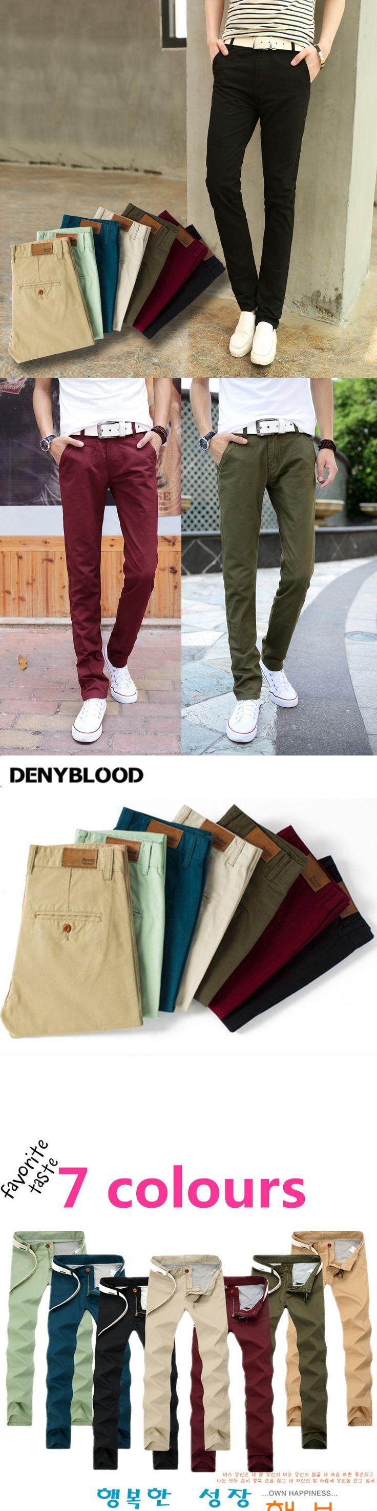 Plus Size Mens Slim Straight Chino Pants Darked Wash Jeans  Mens Slim Chinos Casual Pants Black,Army Green,Khaki 7Colours  501