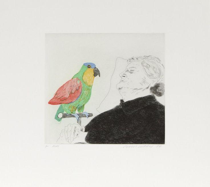 David Hockney, Félicité Sleeping With a Parrot