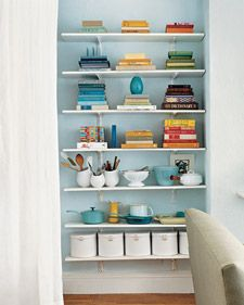 Bookshelf inspiration. Sigh.Open Shelves, Colors, Small Kitchens Design, Martha Stewart, Entry Closets, Kitchens Pantries,  Icebox, Kitchens Storage, Accent Wall