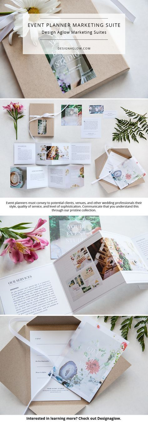 Present your services with impeccable style using our Event Planner Marketing Suite. Flawless design showcases images and details from your own events in this pristine collection.