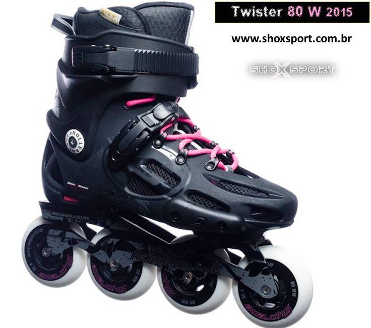 PATINS ROLLERBLADE TWISTER 80 W O patins ROLLERBLADE TWISTER 80 W é o grande patins de roda 80mm da Rollerblade. É o patins clássico pra nova geração de patinadores, projetado pra ser ágil, durão e resistente. Sua bota é vazada para melhor aeração dos pés e conforto. Bas