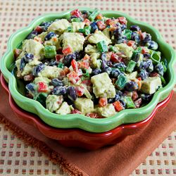 Chicken, Black Bean, and Red Pepper Salad with Spicy Avocado Dressing: Red Peppers, Chicken Recipes, Peppers Salad, Black Beans, Dresses Recipes, Avocado Dresses, Easy Recipes, Spicy Avocado, Kalyn Kitchens