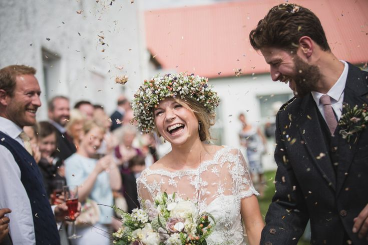 Simple But Incredibly Stylish Humanist Wedding At Scottish Coastal Venue Crear With Bride In Bespoke Gown By Flossy & Dossy With Jimmy Choo Heels And A Midsummer Nights Dream Inspired Flower Crown With Groom In Kilt And Bridesmaids In Gowns From Debenhams With Images From Tandem Photography