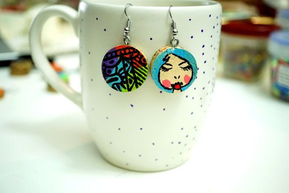 Recycled Wine Cork Earrings - Two Sided - Black Designs on Colorful ann Woman with Blue Hair