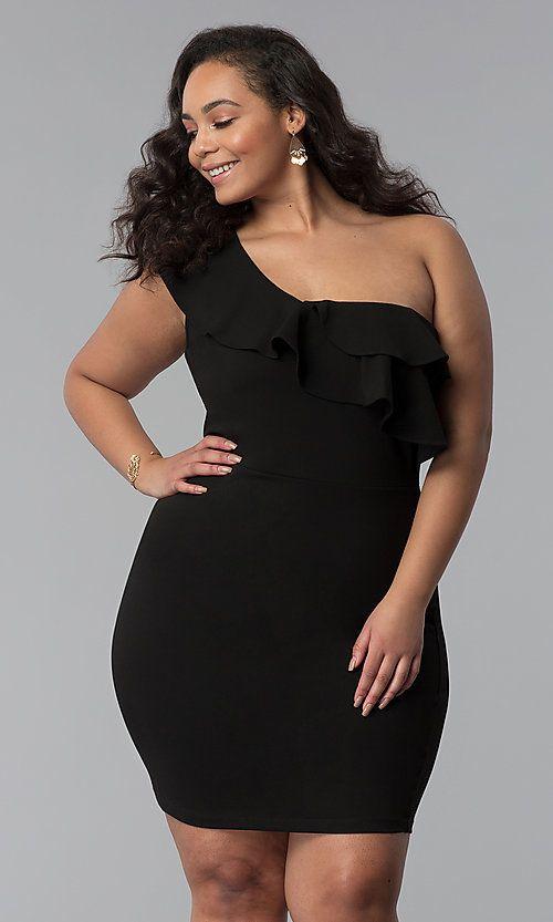 Plus-Size One-Shoulder Short Black Party Dress in 2019   Plus Size ...