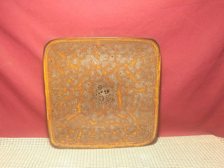 Square Rustic Orange Brown Dinner Plate in Pottery & Glass | eBay