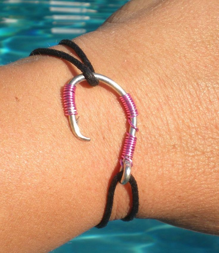 FISH HOOK BRACELET  Pink on Silver Hook by HookedOnKeyWest on Etsy, $19.00