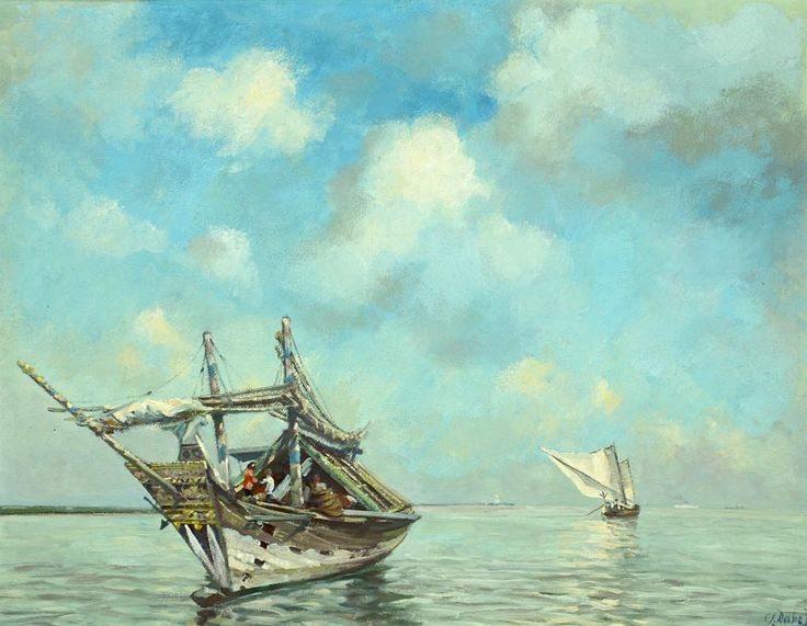 Carel Lodewijk Dake Jr (Schaerbeek, 1886 – Jakarta, 1946) - Jonken voor de kust.
