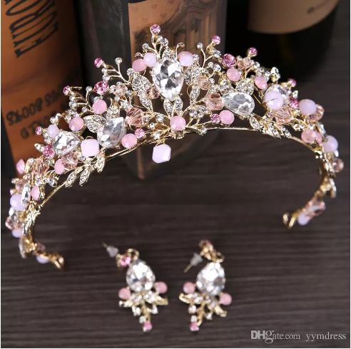 Luxury Bridal Crown Rhinestone Crystals Royal Wedding Queen Crowns Princess Crystal Baroque Birthday Party Tiaras Earring Pink Gold Sweet 16