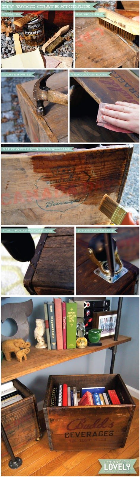 Wouldn't it be Lovely: DIY Vintage Rolling Wood Crates