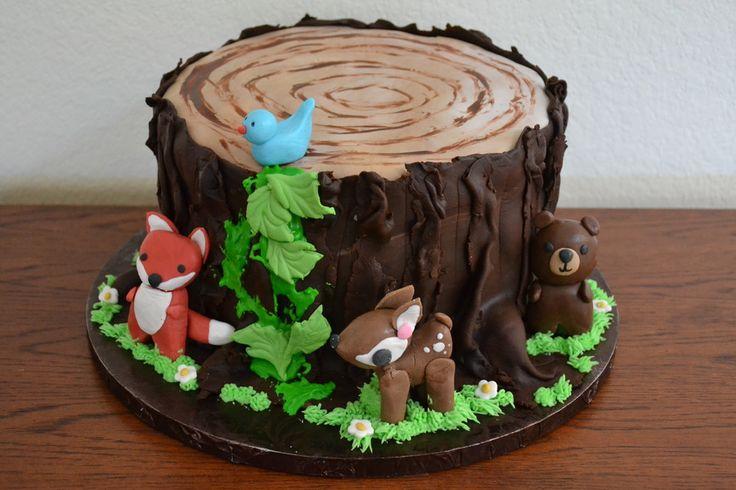 tree stump with woodland animals - bear, deer, fox &...