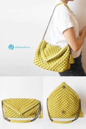 Bobble Stitch Bag, photo tutorials, chart with symbols and written instructions/ Bolso punto de avellanas, foto tutoriales, gráfico con símbolos e instrucciones escritas by Chabepatterns