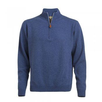 A soft lambswool 1/4 zip in a blue coloured wool. These jumpers are a regular fitting garment. Features include - tonal wolfhound embroidered on the chest and leather tab on zip.