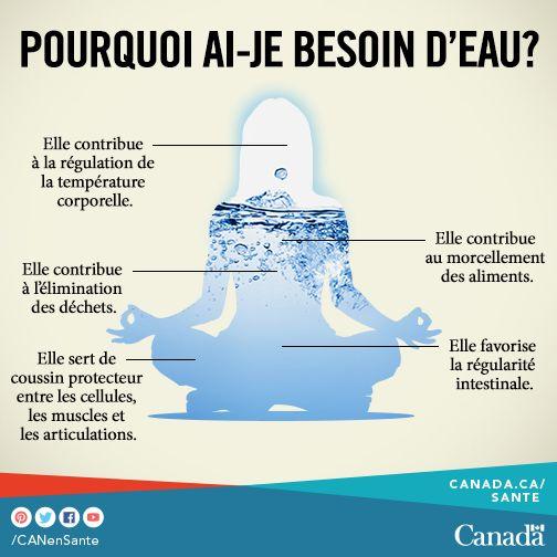 Cliquez ici pour plus de conseils sur la façon de boire plus d'eau : http://www.phac-aspc.gc.ca/sfv-avf/info/fv-prevent-fra.php?utm_source=pinterest_hcdns&utm_medium=social_en&utm_content=&utm_campaign=social_media_14
