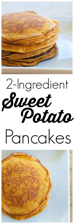 Estos 2 Ingrediente (de verdad!) Tortitas de patata dulce son tan fáciles y son un gran éxito con los niños.  Sin gluten, sin leche, nuez-libre, libre de soya.  #recipe #cleaneating impresionante