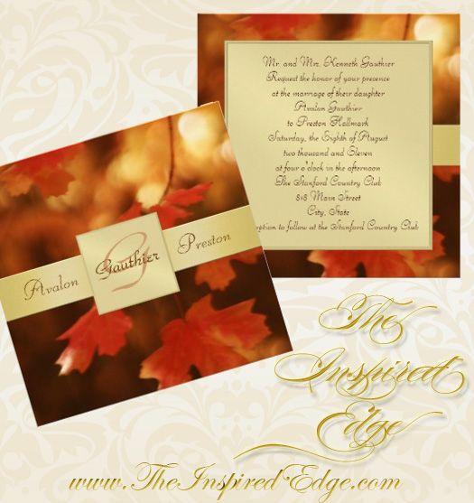 Autumn Fall Leaf Monogram Wedding Invitation